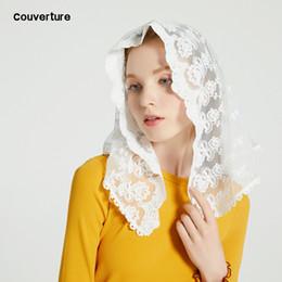 Canada Couverture 2018 Femme Fashion D forme dentelle chapelle voile mantille Christian couvre-chef pour foulard de prière église dentelle cheap mantilla veils Offre