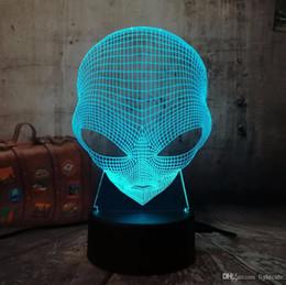 3d фонарик онлайн-3D Emoji Чужеродного Настольной лампы стол Night Light 7 Изменения цвета USB LED Домашнего украшение беспроводной фонарик Атмосфера лампа Креатив