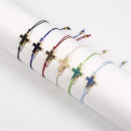 Cruces de resina para online-Pulsera colgante Druzy resina de la manera Natural Cruz de piedra con las pulseras de la trenza de la tarjeta del deseo secuencia de la cuerda de colores para joyería de regalo Hombres Mujeres