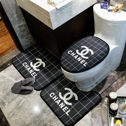 popular suit styles Coupons - Grid Toilet Mat Bathroom Fashion 3PCS Carpet Suit Men And Women Popular Letter Print Bath Mats