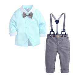 boys suits pink color Promo Codes - Gentleman Suits Boys Sets Long Sleeve Shirts Contrast Color Bow Strap Single Breasted Trousers Shirt Collar 23