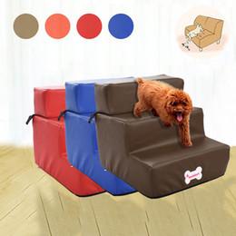 biancheria in pelle Sconti Rampe per cani pieghevoli impermeabili in pelle per animali domestici Letto per cani staccabile Rampa per cani gatto 3 passaggi Forniture per prodotti