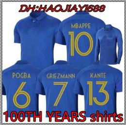 França 1919/2019 Edição Especial camisa de futebol Centenário HENRY manga comprida 19 20 mbappe camisa de futebol de futebol ZIDANE camisas de futebol de Fornecedores de jérsei de rugby azul amarelo
