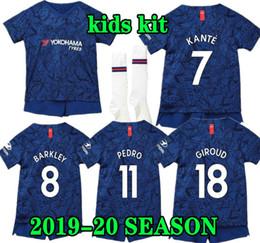 Kit david online-niños PULISIC 19 20 CFC Barkley kit de camiseta de fútbol local Niños GIROUD PEDRO KANTE WILLIAN DAVID LUIZ 2019 2020 camiseta de fútbol infantil PELIGRO