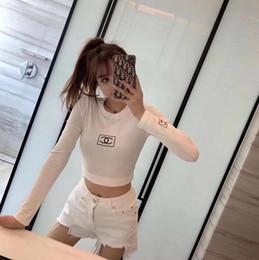 novas tendências camisetas Desconto Usar Outono Inverno Design Mulheres New Undercoat Fashion Trend PrintedSlim manga comprida t-shirt clássico Preto e Branco Duas Cores