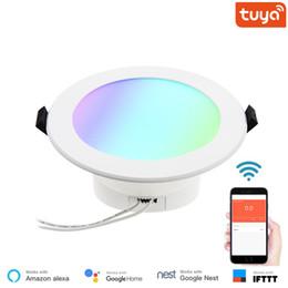 2019 замороженный хрусталь 4-дюймовый Многоцветный полнофункциональный светодиодный светильник Smart Downlight Круглый потолочный встраиваемый прожектор 10 Вт WiFi Control FK DL101 RGBW