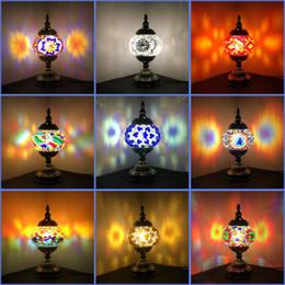 mosaico mediterrâneo Desconto Mais novo E14 Embutidos À Mão mosaico de vidro quarto sala Candeeiros de mesa decorativos de estilo Mediterrâneo lâmpadas Turcas