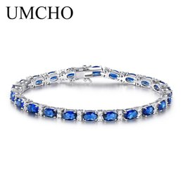 Pulseira de safira azul esterlina on-line-Criado por UMCHO Blue Sapphire Pulseira Para As Mulheres 100% 925 Sterling Silver Jewelry Romântico Presente Da Jóia Do Casamento 2018 Novo C18122801