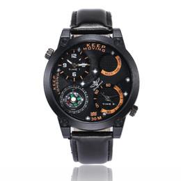 2019 temporizador de calidad Relojes deportivos para hombre a estrenar Moda Compás Correa de cuero de la PU Relojes de pulsera Relojes de cuarzo de dos temporizadores de alta calidad al por mayor LW041 temporizador de calidad baratos