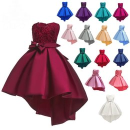 girls long cotton skirts Promo Codes - Girl Dresses Mullet Long Dress Lace Princess Jumper Skirt With Embroidery And Beads Pleated Style Asymmetrical Clothes