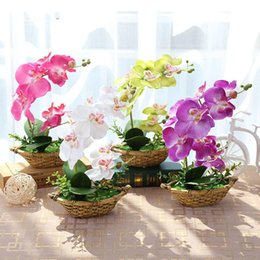 Pianta in vaso di orchidea online-Orchidea farfalla artificiale Piante in vaso Fiore decorativo di seta In vaso Phalaenopsis Orchid Bonsai per la decorazione domestica di nozze