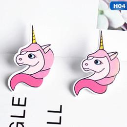 2019 einhornohrringe großhandel Persönlichkeit bunte Einhorn Ohrringe Frau Mädchen Einhorn Ohrringe Stud Cartoon Pferd Schmuck Großhandel günstig einhornohrringe großhandel