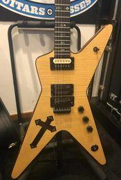 Gitarre natürlich online-Seltene Burn Southern Cross Dimebag Darrell BSG Flammenahorn natürliche E-Gitarre Abalone Cross Inlay, Floyd Rose Tremolo, schwarze Hardware