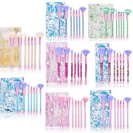 Kits d'outils de fondant en Ligne-7 pcs Licorne Maquillage Pinceaux Maquiagem Diamant Brillant Fondation Fondant Blush Poudre Lèvres Cosmétique Beauté Maquillage Outil Kit Dans Un Sac De Paillettes