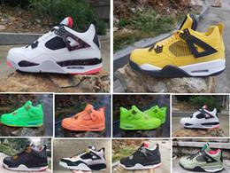 NOUVEAU Hommes 4 4S Chaussure De Basket-ball Fluorescent Jaune Noir Rouge Vert Pomme Vert Orange La meilleure qualité Hommes Sport Sneakers Designer Chaussures Nous 7-13 ? partir de fabricateur