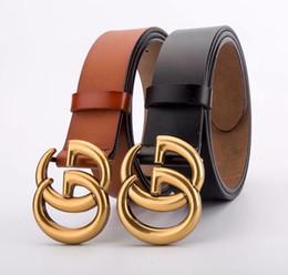 Nouvelle inscription Tops Italie marque Trademark g Mode solide Grande boucle Ceinture en cuir véritable ceinture ceinture pour Hommes Femmes Jeans ceinture v ? partir de fabricateur
