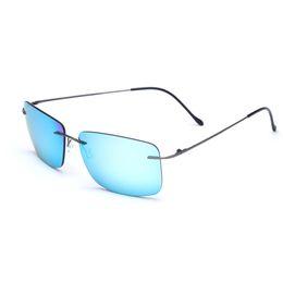 da0fb11e9f0 2019 ZJHZQZ High-end B-Titanium Ultra Light Rimless Polarized Square  Sunglasses Blue Black Brown Mirrors Outdoor Sport Eyewear