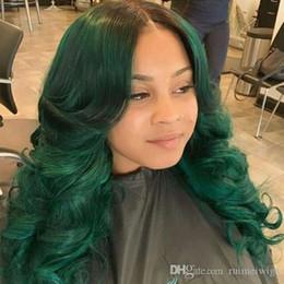 Ucuz Cosplay Peruk Sentetik Dantel Ön Peruk Afro-amerikan Vücut Dalga peruk Ombre Siyah Koyu Yeşil Siyah Kadınlar Için Dantel Ön Peruk nereden