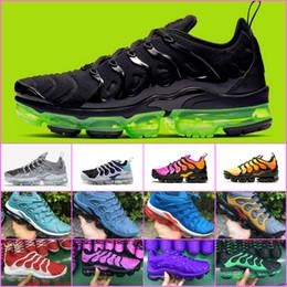 Ventas calientes 2019 Nuevos Zapatos Tn Plus Uva Volt Hyper Violet Blue Hombres Mujeres Zapatos Corrientes Barato Triple Blanco Negro Trainer Tn Cushion Sneakers desde fabricantes