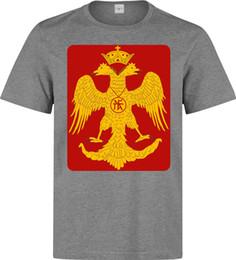 2019 obra de arte amarilla Byzantine Eagle Red And Yellow Artwork camiseta gris para hombre Envío gratis divertido Unisex Camiseta Casual top obra de arte amarilla baratos