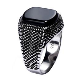 Турция ювелирные изделия черное кольцо мужчины легкий вес 6 г реального стерлингового серебра 925 мужские кольца натуральный камень оникс старинные прохладный мода J190618 cheap fashion jewelry turkey от Поставщики ювелирные изделия из турции