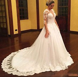 simple beautiful shirt Promo Codes - Wedding dresses lace 1 2 sleeve hot selling skirts lace print deep V neck beautiful long tail modern wedding dress De Mariee Plus