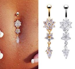 titan-bauchnabel Rabatt Neue Mode Sexy Piercing Navel Nail Body Schmuck Blume Anhänger Kristall Bauchnabel Ringe