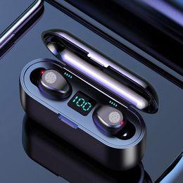 vivo-headset Rabatt Drahtloser Kopfhörer Bluetooth V5.0 F9 TWS Kopfhörer HF Stereo Earbuds LED-Anzeige Touch Control 2000mAh Energien-Bank-Kopfhörer mit Mikrofon DHL