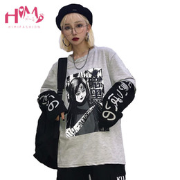 Fumetto coreano online-Giapponese Harajuku Anime T-Shirt Kawaii Coreano Gothic Comic Cartoon Donna Manica Lunga Tops Oversize Falso In Due Pezzi Coppie Coprire C19040301