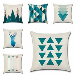 Patrón de almohada triángulo online-Fundas de almohada Elk azul Fundas de cojines de triángulo Fundas de almohada de lino simples nórdicas Patrón de geometría Flecha Funda de almohada de 18 pulgadas para el hogar