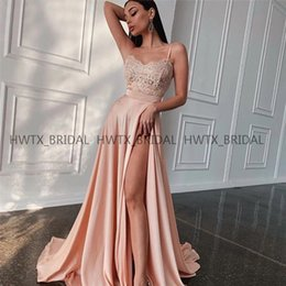 Baile elegante vestidos correias fendas on-line-Elegante Prom Vestidos longos 2019 Sexy Coxa-alta Slits Spaghetti Lace Top Uma Linha Prom Dress Vestidos de festa de noche