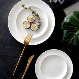 2019 tigelas de sobremesa atacado Vendas diretas da fábrica de pratos de porcelana de osso branco puro em casa prato raso de cerâmica prato japonês rodada prato