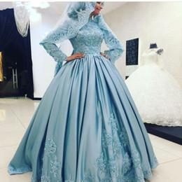 Abito da Sposa Musulmano Arabo Blu Dubai Khaftan Collo Alto Maniche Lunghe Abiti da Sposa in Raso Islamico Appliques in Pizzo cheap kaftan dress dubai wedding da vestito da caftan matrimonio di dubai fornitori