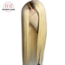 Pleine dentelle perruque ombre en Ligne-Honrin Cheveux Blonde Ombre T4 / 613 Perruque Avant De Lacet Cheveux Bruns Racines Soyeux Droite Brésilienne Vierge Brésilienne de Cheveux Humains Pré Plumée Plein Perruque