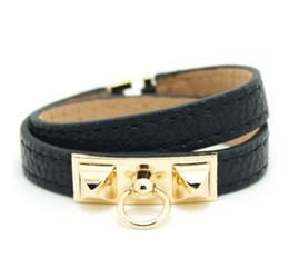 Bracelets vintage bracelets or 14k en Ligne-couche wrap Vintage Pu Bracelets en cuir H pour les femmes Cuff bracelets hommes or boucle bracelet Pulseras Homme Accessoires Bijoux