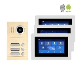 "Комплект видеотелефона онлайн-Free Shipping 1.0MP HD WIFI IP Apartment 7"" Touch Screen Video Intercom Door Phone Record Kit 3 Monitors Phone Remote Monitor"