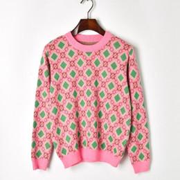 Venta caliente Otoño Mujeres Suéteres Casual Contraste Color Diamante Geometría Figura Suéter de Cuello Redondo de Punto Suéter de las mujeres desde fabricantes