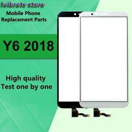 "samsung e7 lcd Rebajas 5.7 ""Para Huawei Y6 2018 LCD Pantalla táctil frontal Digitalizador Lente exterior de vidrio ATU-LX1 ATU-L21 Panel táctil ATU-L con cable flexible"