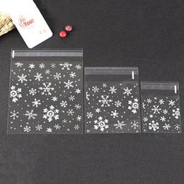 scrubs di natale Sconti Mini trasparente Scrub Tasca piatta Fiocco di neve di Natale Confezione regalo Sacchetti di imballaggio Caramelle di Natale Sacchetto di biscotti di plastica