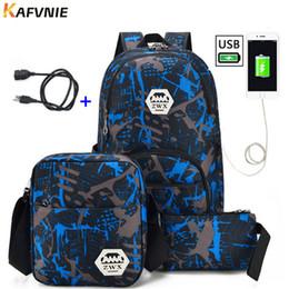 3718bd4567c08 3 stücke USB Männlichen rucksack tasche set rot und blau high school tasche  für jungen schulter große student book bag männer schulrucksack frauen  Y190601 ...