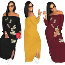 2019 tapa dólar Dólares estadounidenses Impreso Maxi vestido de verano fuera del hombro vestidos largos partidos vestidos de fiesta de las señoras de moda de manga larga vestido de tirantes C42906 tapa dólar baratos