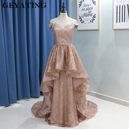 Corsé de cuello de oro online-2019 Glitter Rose Gold Prom Vestidos Sexy Off Shoulder Crystal Long Train Party Party Sparkly Pleat Corset Vestido de noche con cuello en V