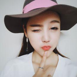 Pendientes de aro de zafiros online-Han gates pendientes de perlas de cristal de zafiro en temperamento dulce asimétrico femenino coreano Pendientes accesorios