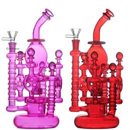 Plataformas petroleras únicas online-Única de cristal Bong Bong doble hélice en movimiento Recycler Perc aceite Dab Rigs verde púrpura Tubos 14mm agua con tazón vidrio al por mayor Embriagador