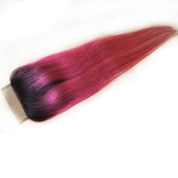 pezzi di chiusura remy remy Sconti Ombre peruviana dei capelli umani chiusura del merletto naturale capelli remy remy pezzo 4 * 4 chiusure superiori due toni accessori per capelli vergini 8inch-20inch