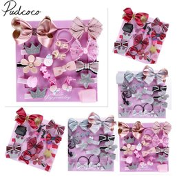 baby props princess set Promo Codes - 2019 Baby Accessories Cute 18Pcs Set Kids Infant Princess Hairpin Baby Girls Bowknot Flower Motifs Hair Clip Set Gift Box Props