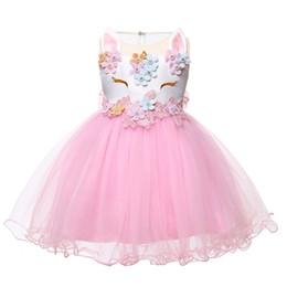 i vestiti di pasqua all'ingrosso delle ragazze Sconti Natale Baby Girl Dress 2018 Inant Princess Unicorn Dress For Girls Bambini Battesimo 2 1 Years First Birthday Girl Party Dress J190506