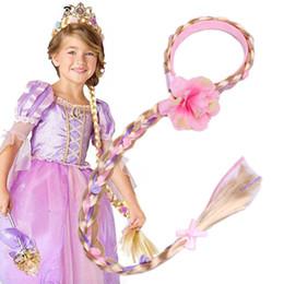 pelucas rapunzel Rebajas Niñas bebés Rapunzel trenza pelucas largas princesas adornos para el cabello con palos de pelo Carnaval cosplay vestir hasta