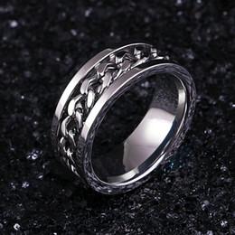 anéis giratórios de aço inoxidável Desconto De aço inoxidável de prata anel de corrente de rotação do estilo punk personalidade dos homens anel de jóias dos homens