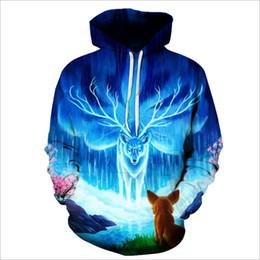 corrientes deportivas Rebajas Venta al por mayor Slim 3D de impresión personalizados trajes frescos Gym Sport gran tamaño sudadera azul Elk Stream agua sudadera Ypf191
